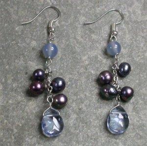 Agate Quartz Pearl Sterling Silver Earrings