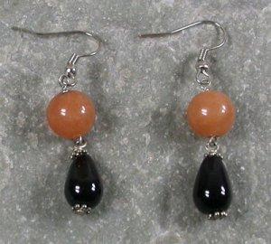 Black Agate Honey Jade Sterling Silver Earrings