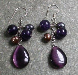 Purple Cat Eye Jade Pearl Sterling Silver Earrings