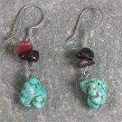 Tourmaline Turquoise Sterling Silver Earrings