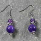 Purple Jade Sterling Silver Earrings