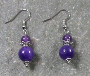 Purple Jade Sterling Silver Earrings