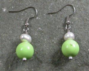 Gaspeite Pearl Sterling Silver Earrings