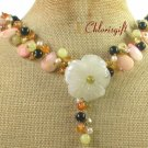 YELLOW JADE FLOWER FOSSIL AGATE CRYSTAL NECKLACE