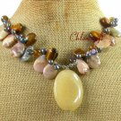 YELLOW JADE FOSSIL AGATE TIGER EYE CRYSTAL NECKLACE