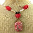 RED TURQUOISE CINNABAR PEARLS NECKLACE