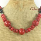 LONG! 22 NATURAL RED SPONGE CORAL BLACK AGATE NECKLACE