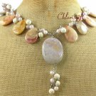FOSSIL AGATE WHITE TURQUOISE PEARLS NECKLACE