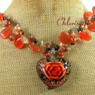 FLOWER LAMPWORK CAT EYE QUARTZ PEARLS NECKLACE