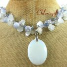 OPALITE & WHITE JADE & CAT EYE & CRYSTAL NECKLACE