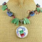 MING DYNASTY POTTER SHARD GREEN AGATE JADE NECKLACE