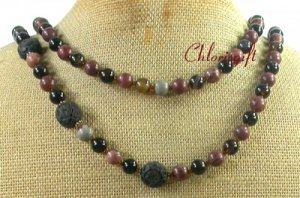 LONG! 40 BLACK CINNABAR AGATE ARTISTIC JASPER NECKLACE
