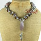 SAGE PLUME AGATE TIGER EYE PEARLS NECKLACE