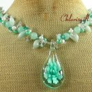 FLOWER LAMPWORK AMAZONITE JADE CRYSTAL NECKLACE