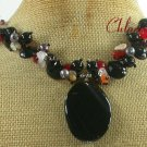 BLACK AGATE CRYSTAL GARNET JADE NECKLACE
