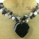 BLACK BOTSWANA AGATE QUARTZ CRYSTAL PEARL NECKLACE