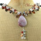SAGE PLUME AGATE & RED AGATE & QUARTZ & PEARLS NECKLACE