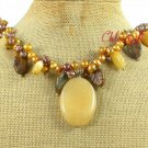 YELLOW JADE POPPY JASPER PEARLS NECKLACE