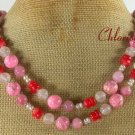 LONG! 40 PINK TURQUOISE ROSE QUARTZ RED CORAL NECKLACE