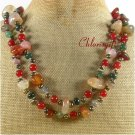 LONG! 40 AGATE RED CARNELIAN JASPER PEARLS NECKLACE