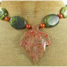 AUTUMN JASPER LEAF & YELLOW TURQUOISE NECKLACE