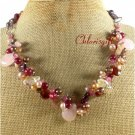 ROSE QUARTZ RED PINK JADE FW PEARLS NECKLACE