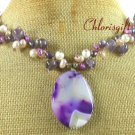 PURPLE LACE AGATE & FLUORITE & FW PEARL NECKLACE