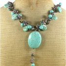 TURQUOISE SMOKY CRYSTAL FRESH WATER PEARLS NECKLACE
