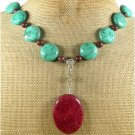 RED BLUE TURQUOISE & BACCIATED JASPER NECKLACE