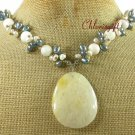 YELLOW JADE STRIPE JADE FW PEARL NECKLACE