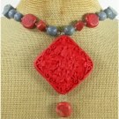 RED CINNABAR & RED BLUE CORAL NECKLACE