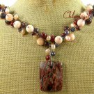 BACCIATED JASPER & SALMON CORAL & FW PEARL NECKLACE