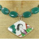 MING DYNASTY POTTERY SHARD & GREEN AGATE NECKLACE