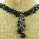 BLACK AGATE & CRYSTAL & PEARL NECKLACE