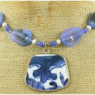 MING DYNASTY POTTERY SHARD BLUE AGATE PEARL NECKLACE