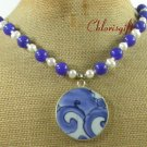 MING DYNASTY POTTERY SHARD BLUE JADE PEARLS NECKLACE