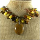 BROWN AGATE TIGER EYE CAT EYE CRYSTAL PEARL NECKLACE