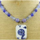 MING DYNASTY POTTERY SHARD & BLUE AGATE JADE NECKLACE