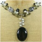 BLACK AGATE PICASSO JASPER CRYSTAL PEARLS NECKLACE