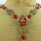 AUTUMN JASPER FLOWER RED CORAL FW PEARL NECKLACE