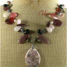 POPPY JASPER RED CARNELIAN QUARTZ PEARLS NECKLACE