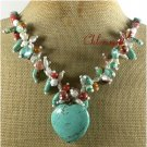 TURQUOISE RED JASPER YELLOW JADE MOSS AGATE NECKLACE