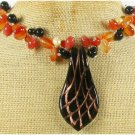 MURANO GLASS & BLACK RED AGATE NECKLACE