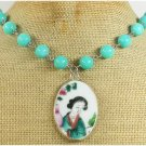 MING DYNASTY POTTERY SHARD & BLUE JADE NECKLACE