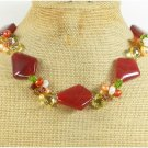 RED CARNELIAN & AGATE & CRYSTAL & FW PEARL NECKLACE