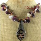 MURANO GLASS JADE AGATE CAT EYE FW PEARL NECKLACE