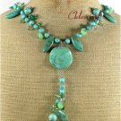 20 TURQUOISE GREEN QUARTZ CRYSTAL NECKLACE