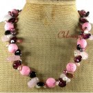 PINK CORAL TOURMALINE ROSE QUARTZ CRYSTAL NECKLACE