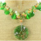 MURANO GLASS & GREEN CAT EYE & QUARTZ NECKLACE