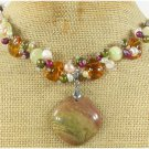 MUGER JASPER STRIPE JADE CRYSTAL PEARLS NECKLACE